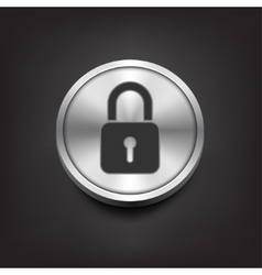 Closed lock icon on silver button vector image vector image