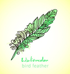 Feather painted live watercolor paint vector image vector image