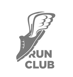 professional run club logotype with flying shoe vector image