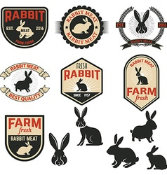 Set of rabbit meat labels badges and design vector image