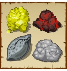 Volcanic rocks and gems set of four items vector