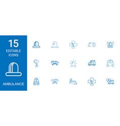 15 ambulance icons vector