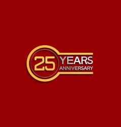 25 years anniversary golden and silver color vector