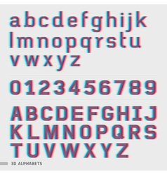 3D alphabet and numbers font style vector image