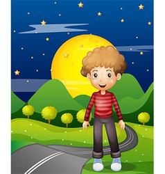 A man in the street wearing a stripe sweatshirt vector