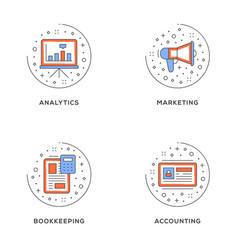 Analytics marketing bookkeeping accounting set vector