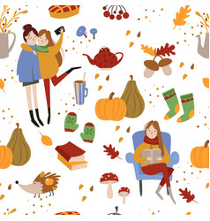 Autumn seamless pattern with cute girls and forest vector