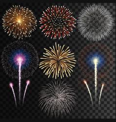 big set isolated fireworks on transparent vector image