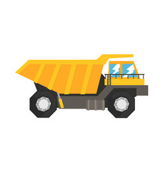 Big yellow dump truck heavy industrial machinery vector