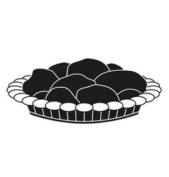 Black and white pastry plate silhouette vector