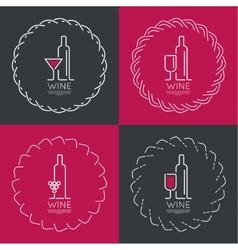 bottle wine with a glass wine vector image