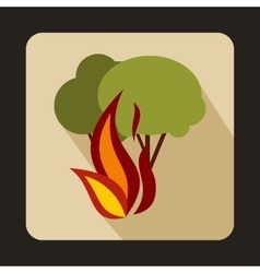 Burning forest trees icon flat style vector image