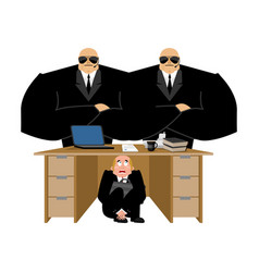businessman scared under table of collector vector image