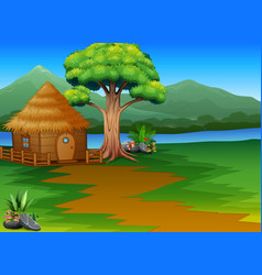 cartoon woods cabin by the river with mountains la vector image