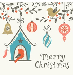 Christmas birds greeting card vector image
