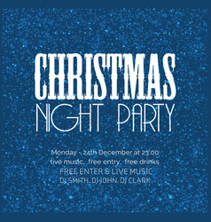 christmas night party snow background vector image