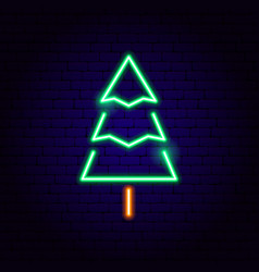 christmas tree neon sign vector image