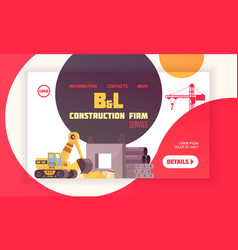Construction landing page layout vector