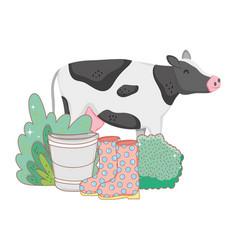 Cow farm animal with garden and boots vector