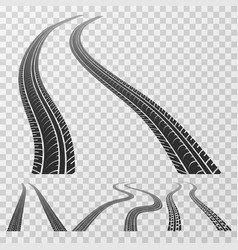 curved tire tracks stretching to horizon vector image