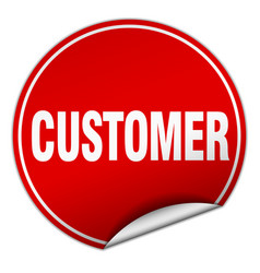 customer round red sticker isolated on white vector image