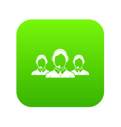 customer support operators icon digital green vector image