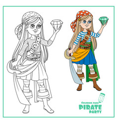 cute cartoon girl in pirate costume looking at a vector image