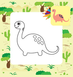 cute dino coloring page vector image