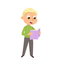 Cute intelligent boy reading book education and vector