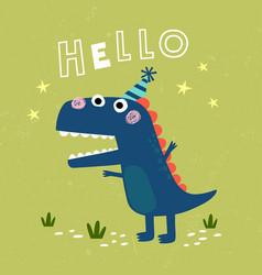 Cute little t-rex card vector