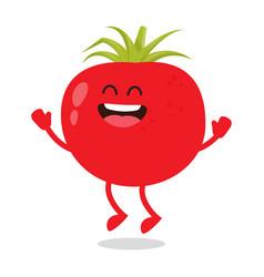 Cute red ripe funny tomato vector