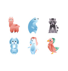 Cute stylized wild animals collection llama vector