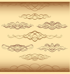 Divider ornament vintage swirl scroll curl set vector