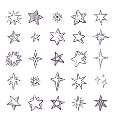 doodle stars cute pen sketch space elements vector image