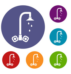 Dripping tap icons set vector