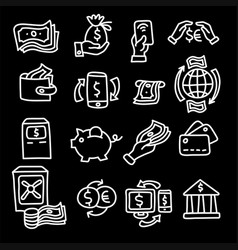 finance and banking outline icons vector image