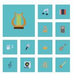 Flat icons quaver acoustic tone symbol and other vector