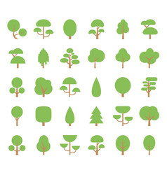 flat trees icons vector image