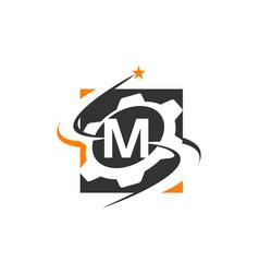 gear solution logo letter m vector image
