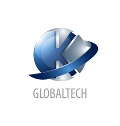 global technology initial letter k logo concept vector image