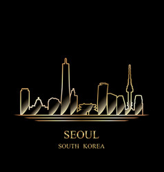 Gold silhouette of seoul on black background vector