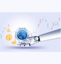 gold us dollar coin hand robot stock market forex vector image