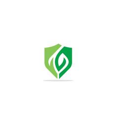 green leaf shield organic logo vector image