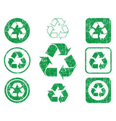 grunge green eco recycling trash can icon shape vector image