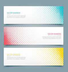halftone banners and headers set design vector image