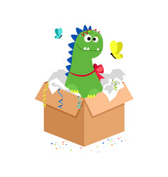 Happy dino in carton box kids toy gift vector