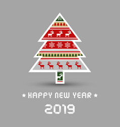 happy new year 2017 with christmas tree vector image