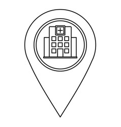 hospital pin pointer icon outline style vector image