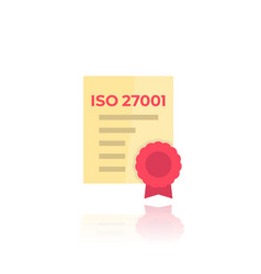 iso 27001 certificate icon vector image