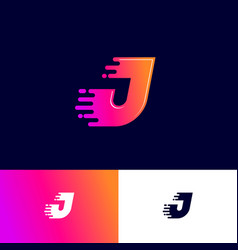 j letter winds movement dynamic logo velocity deli vector image